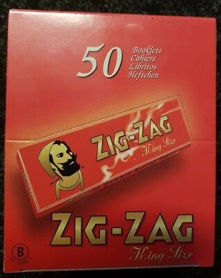 Full Box of 50 Booklets Zig Zag Kingsize Red Rolling Cigarette Papers