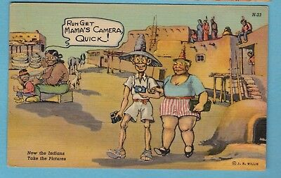 Comic linen postcard/ Indians taking pictures of tourist/ skinny man/fat lady/