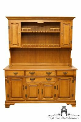 """TELL CITY Young Republic Colonial Solid Hard Rock Maple 60"""" Buffet w. Hutch 8..."""