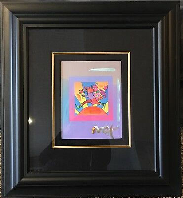 PETER MAX Flower Jumper Over Sunset On Blends Mixed Media Acrylic Hand Signed