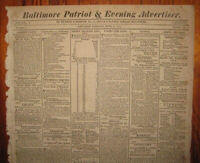 1814 Baltimore Patriot, WAR of 1812 Deserters from Fort McHenry