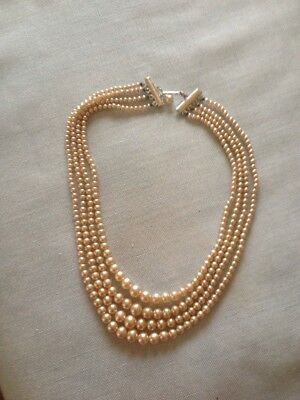 Vintage Faux Pearl Necklace Four Strand