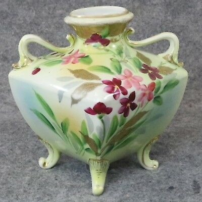 Antique Nippon China Hand Painted Footed Vase Double Handle Cherry Blossom Mark