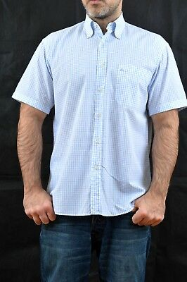 Navigare Mens Casual Shirt Checked Sky Blue White Short Sleeved Vintage 90s M