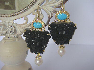 TAGLIAMONTE Designs (768) 925SS/YGP Venetian Cameo Earrings*Medusa*14.5 Grams