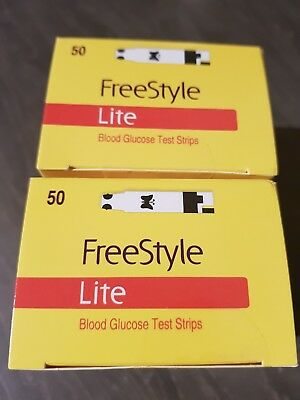 100 Freestyle Lite Blood Glucose Test Strips BRAND NEW SEALED in 2 Boxes