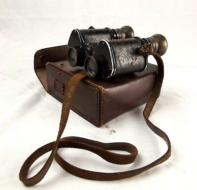 Cased French WWII Era Favorita Binoculars x8 Magnification