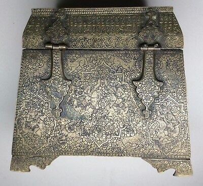 Extremely Rare 18th Century Engraved Brass Islamic Casket. 12th Century Style.
