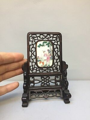 Very Fine Chinese Scholars Table Screen Inset With Porcelain Panel