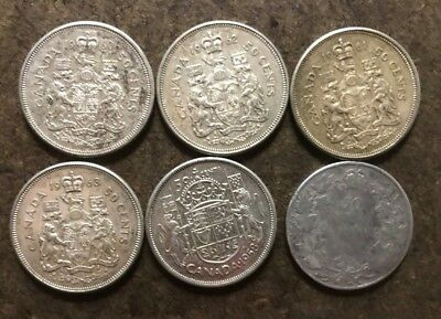 Lot six (6) Canada Silver Half Dollar 50 Cent Coins - 80% silver - No Reserve