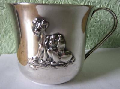 Vintage German Silver Disney Lady & The Tramp Christening Mug/Cup Collectable