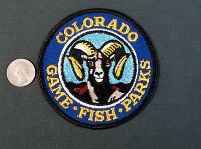 vintage COLORADO GAME FISH PARKS wardens Patch Cheese Cloth back