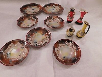 VTG MORIAGE HAND PAINTED DRAGONWARE Lot of 7 plates, 4 vases