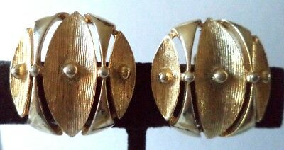 """Stunning Vintage Estate Signed Sarah Cov Gold Tone 1"""" Clip Earrings!!! 1761R"""