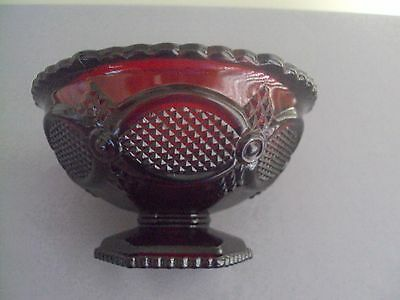 Avon 1987 Cape Cod Ruby Red Pedestal Candy Dish New In Box Vintage