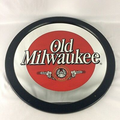 Old Milwaukee Beer Mirror Sign Round Vintage Advertising Pabst Brewing Man Cave