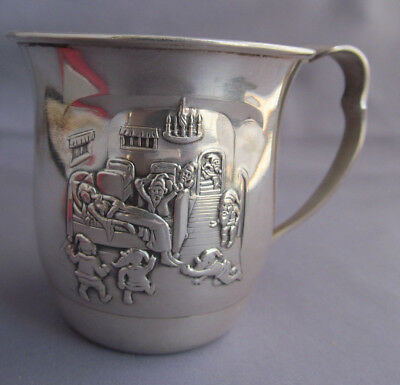 RARE ANTIQUE 900 STERLING GERO EMBOSSED SNOW WHITE & SEVERN 7 DWARFS CUP 70.5g