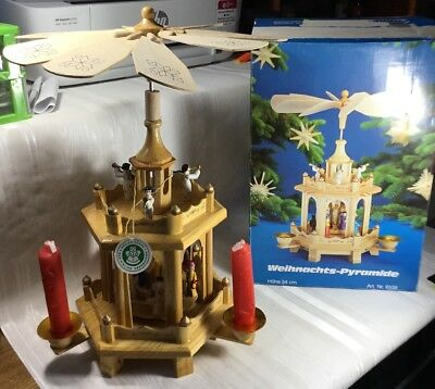 """VINTAGE WOODEN CHRISTMAS NATIVITY 2 TIERED PYRAMID With Box 13.5"""" Tall"""