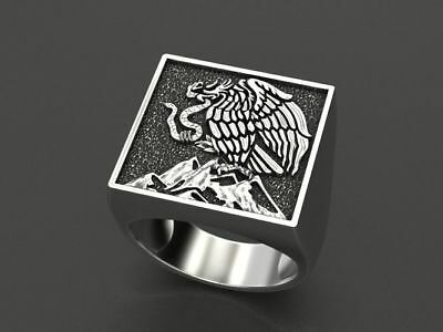 Snake & Bird Gothic Men's Biker Punk Ring Oxidized In 925 Sterling Silver