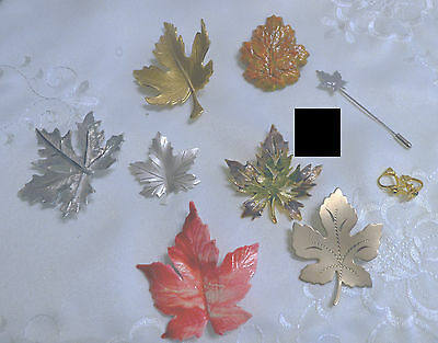 9 Vintage Pieces Maple Leaf Jewelry - Brooches, Stick Pin, Earrings Some Silver