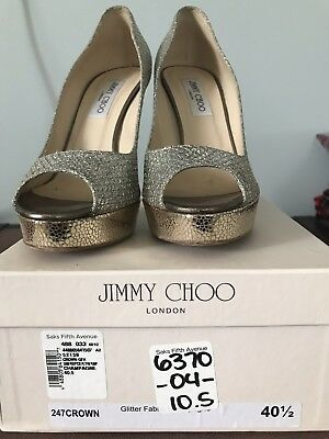 ed6d3a219 Jimmy Choo Crown Glitter Leather Platform Open Toe Pumps Gold US-10.5M EU-