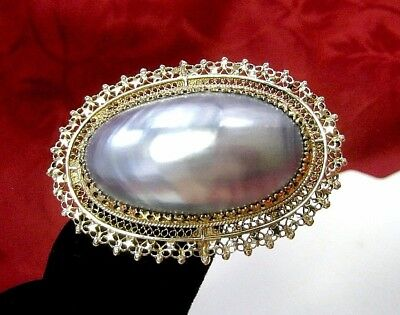 Antique Large Blue Mabe Blister Oval Pearl Brooch In 14K Yellow Gold Pendant Pin