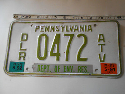 1991-1992 Vintage Pennsylvania PA DCNR DEALER ATV License Plate Motorcycle RARE