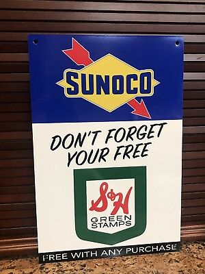 Sunoco Gasoline S&H Green Stamps metal sign baked Oil Gas