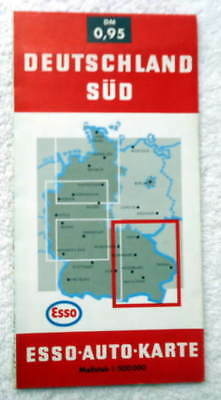 1968 Esso Road Travel Map South Germany Deutschland Sud #44