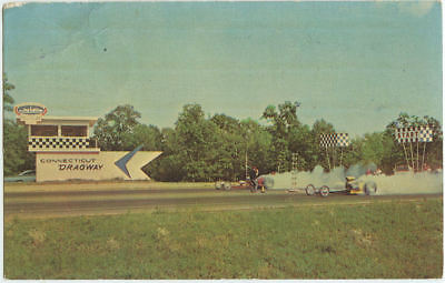 Old postcard Connecticut Dragway auto racing East Haddam CT Conn