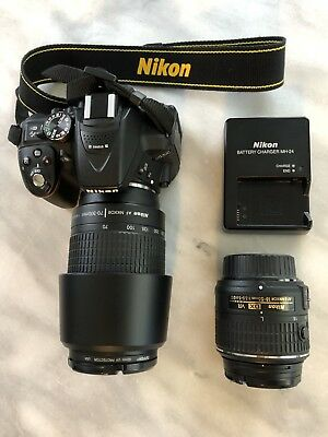 Nikon D5300 Digital SLR Camera 18-55mm VR & 70-300 Zoom 24.2mp w/Lowepro pack