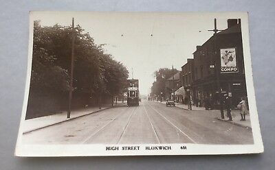 Staffordshire Bloxwich High Street Rp Postcard With Double Decker Tram.