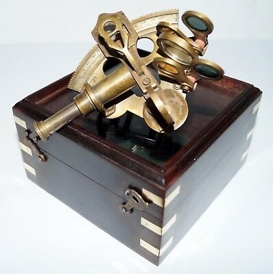 Antique Solid Brass Nautical Ship Instrument Astrolabe Marine Sextant Wooden Box