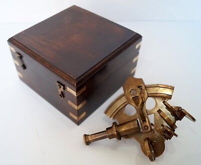 Antique Nautical Working German Marine Sextant with Wooden Box brass Sextant