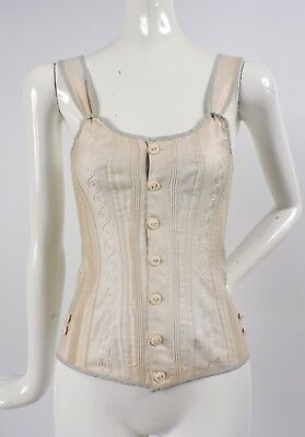 Antique Victorian Lavender Trimmed Corset For Dress W Lacing Rear