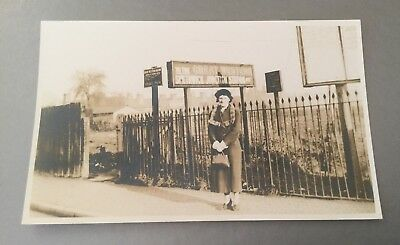 Lady Outside Smethwick Junction Railway Station.rp Postcard.rare