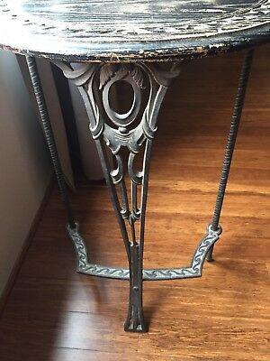 ANTIQUE Deco / Art Nouveau Half Circle Oak and Metalwork Stand