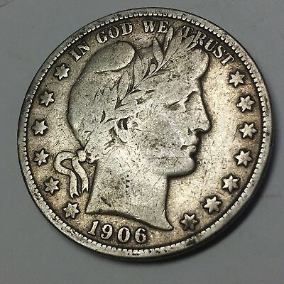 1906-S BARBER HALF DOLLAR - 90% SILVER COIN -1.7 million minted - GREAT DETAIL