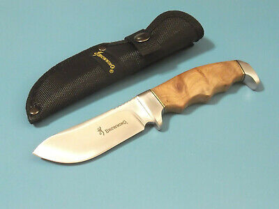 "Browning 526 Brown wood handle fixed blade skinning knife 8"" overall 322526 NEW!"