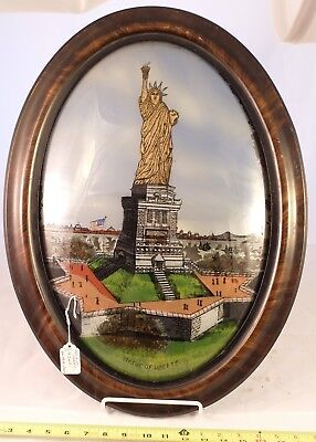 Antique Framed Original Reverse-Painted Statue Of Liberty Nyc Souvenir!