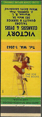 GIRLIE pin-up ~ VICTORY CLEANERS ~ vintage matchcover WARREN, RI rhode island