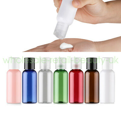 50ml Travel PET Refillable Bottle Disc Cap Lotion Gel Cosmetic Creme Container