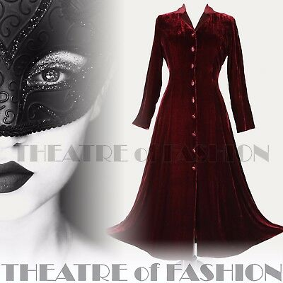 DRESS COAT VELVET SILK VINTAGE VICTORIAN 40s RIDING LAURA ASHLEY XL L M MISTRESS