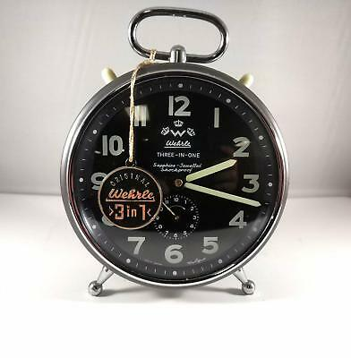 Stunning Vintage Wehrle Three In One Alarm Clock In Excellent Serviced Condition