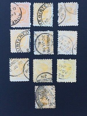 NEW ZEALAND, 1882+, Second Sidefaces, 3d Yellow, 10 x Used