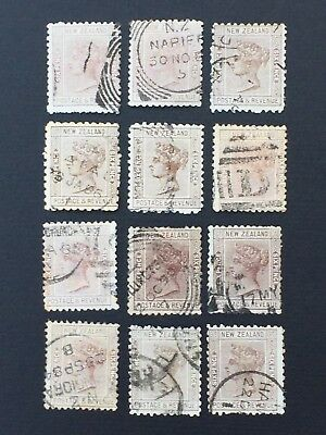 NEW ZEALAND, 1882+, Second Sideface, 6d Brown, 12 x Used