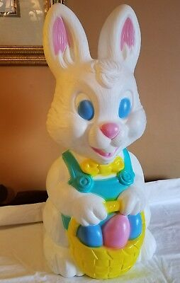 "Vintage Blowmold Bunny Rabbit Blow Mold 19"" Easter Basket General Foam Co. USA"