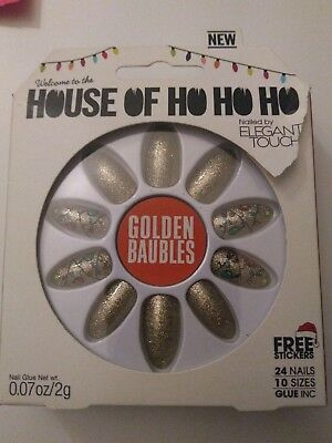 Elegant Touch House Of Holland Ho Ho Ho Christmas False Nails Golden Baubles NEW