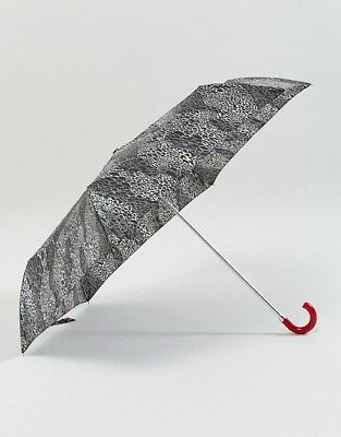 Lulu Guinness By Fulton Super Slim Doodle Snakeskin Umbrella With Red Handle NEW