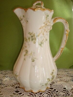 Antique Haviland Limoges Chocolate Coffee Tea Pot, Green Little Roses 11""